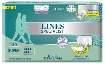 PANNOLONE MUTANDA LINES SPECIALIST EXTRALARGE SUPER 30 PEZZI - Farmabros.it