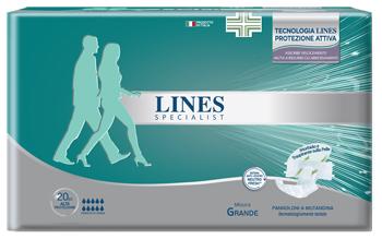PANNOLONE A MUTANDA LINES SPECIALIST ALTAPROTEZIONE MG 20 PEZZI - farmaciadeglispeziali.it