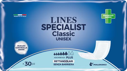 PANNOLONE RETTANGOLARE LINES SPECIALIST CLASSIC SENZA BARRIERA 30 PEZZI - Farmastop
