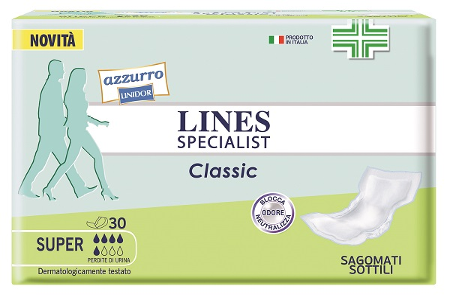 PANNOLONE LINES SPECIALIST CLASSIC SAGOMATO SOTTILE SUPER 30 PEZZI - Farmastop