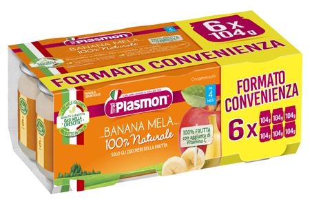 PLASMON OMOGENEIZZATO BANANA/MELA 6 X 104 G - Farmacia Massaro