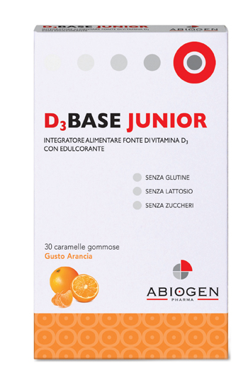 D3BASE JUNIOR 30 CARAMELLE GOMMOSE ARANCIA - Farmaciapacini.it