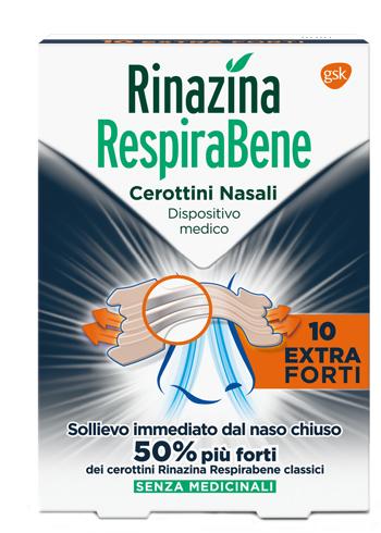RINAZINA RESPIRABENE CEROTTI NASALI EXTRA FORTI 10 PEZZI - Farmastop