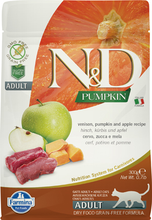 N&D PUMPKIN FELINE VENISON PUMPKIN AND APPLE ADULT 300 G - Spacefarma.it