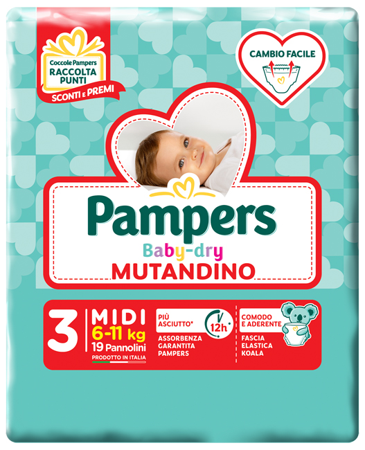PAMPERS BABY DRY MUTANDINA MIDI SMALL PACK 19 PEZZI - farmaciafalquigolfoparadiso.it