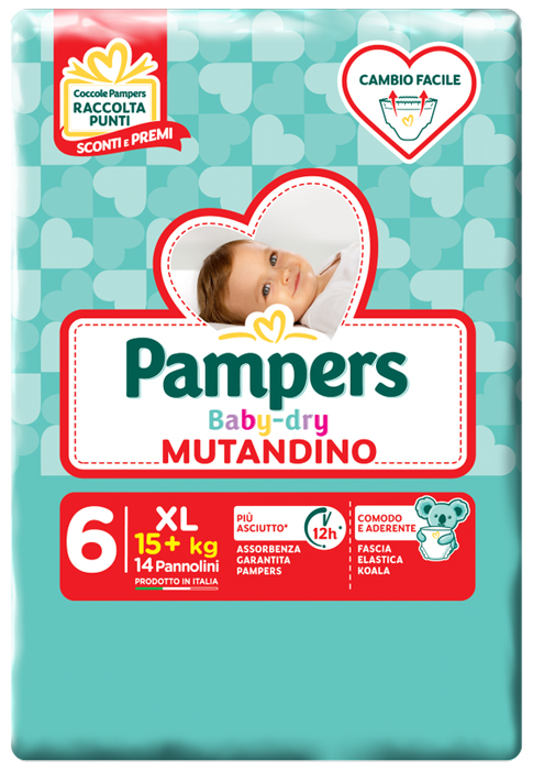 PAMPERS BABY DRY MUTANDINO SM TAGLIA 6 EXTRALARGE SMALL PACK 14 PEZZI - farmaciafalquigolfoparadiso.it