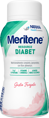 MERITENE RESOURCE DIABET FRAGOLA ALIMENTO IPERPROTEICO 28 VITAMINE E MINERALI 200 ML - farmaventura.it