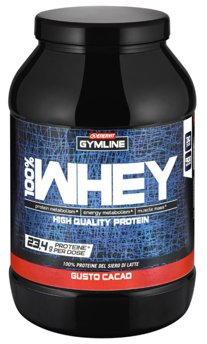 GYMLINE 100% WHEY CONCENTRATE CACAO 900 G PROTEINE ENERVIT - Farmaedo.it