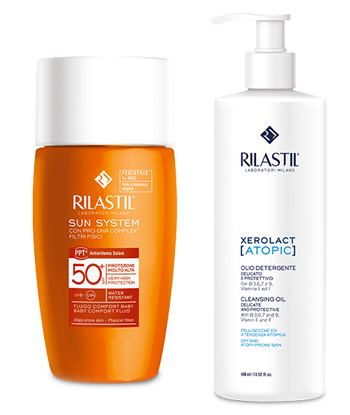 RILASTIL SUN SYSTEM FLUIDO COMFORT PEDIATRIC 50 ML + RILASTIL XEROLAC ATOPIX OLIO 50 ML - Farmafamily.it