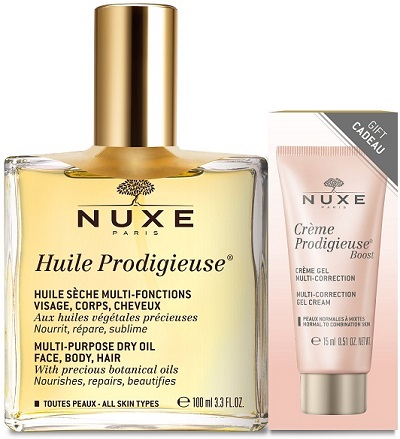 NUXE HUILE PRODIGIEUSE 100 ML + CREMA VISO PRODIGIEUSE BOOST 15 ML PROMO - Farmastar.it