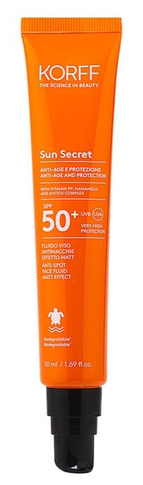 KORFF SUN SECRET FLUIDO VISO ANTIMACCHIE EFFETTO MATT SPF50+ 50 ML - Europarafarmacie s.r.l.