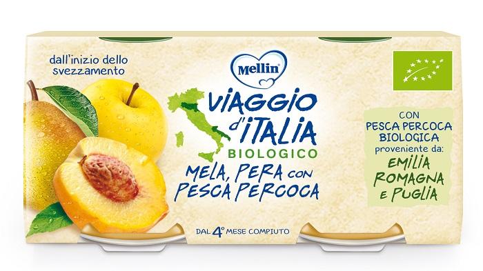 MELLIN VIAGGIO ITALIA BIO OMOGENEIZZATO MELA+PERA+PESCA PERCOCA 2 X 100 G - Spacefarma.it