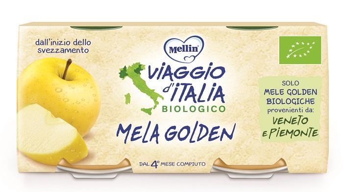 MELLIN VIAGGIO ITALIA BIO OMOGENEIZZATO MELA GOLDEN 2 X 100 G - Spacefarma.it