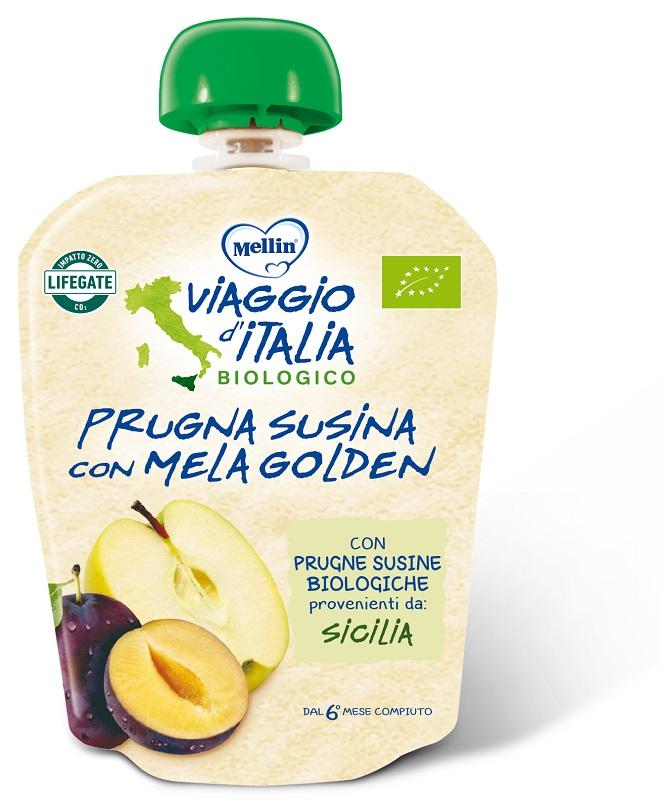 MELLIN VIAGGIO ITALIA POUCH BIO MELA+PRUGNA+SUSINA 90 G - Spacefarma.it