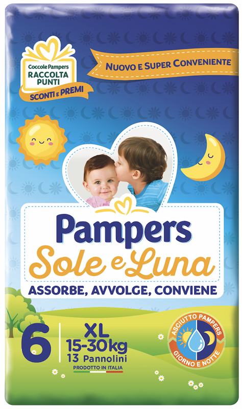 PAMPERS SOLE E LUNA XL 13 PEZZI - farmaciafalquigolfoparadiso.it