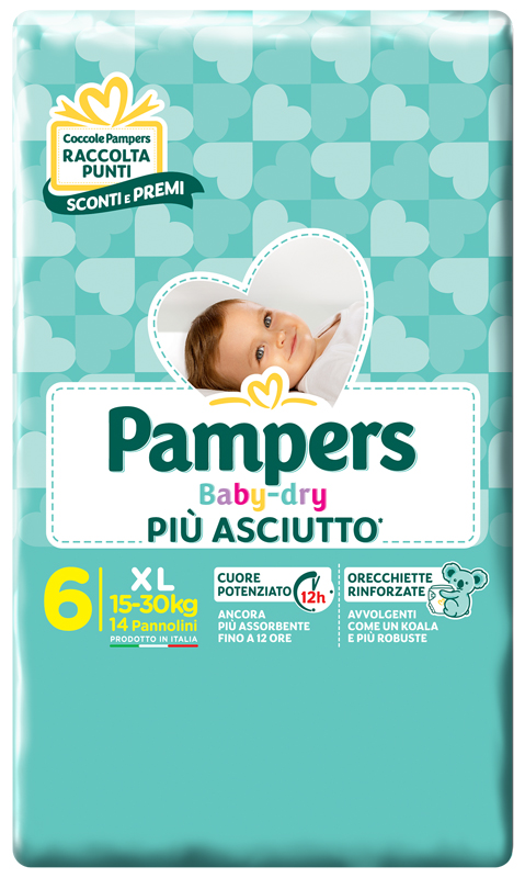 PAMPERS BABY DRY DWCT XL 14 PEZZI - Farmafamily.it