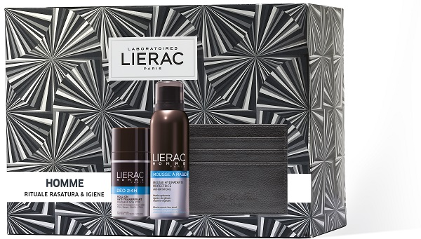 LIERAC CF HOMME MOUSSE 150 ML + HOMME DEO 50 ML + PORTACARTE RDF - Farmajoy