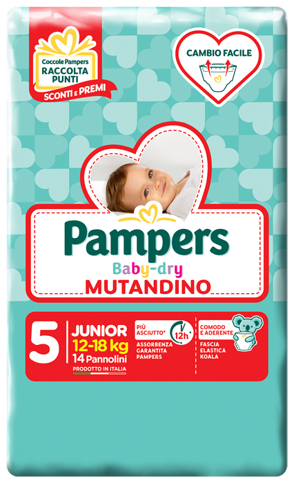 PANNOLINO A MUTANDINA PAMPERS BABY DRY JUNIOR SMALL PACK 14 PEZZI - Farmafamily.it