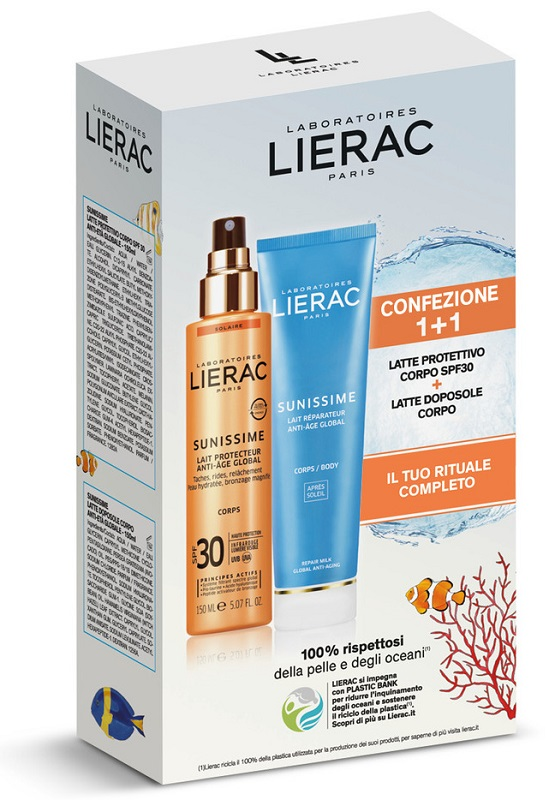LIERAC SUNISSIME CORPO SPF30 150 ML + LATTE DOPOSOLE 150 ML -  Farmacia Santa Chiara