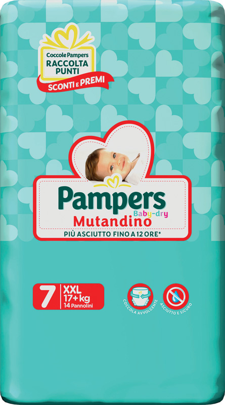 PAMPERS BABY DRY PANNOLINI A MUTANDINA TAGLIA XXL 14 PEZZI - Zfarmacia