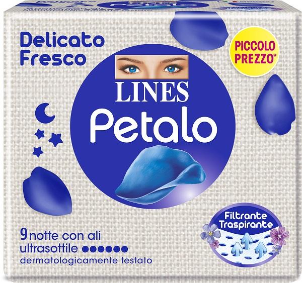 LINES PETALO BLU ASSORBENTE NOTTE 9 PEZZI - Farmafamily.it