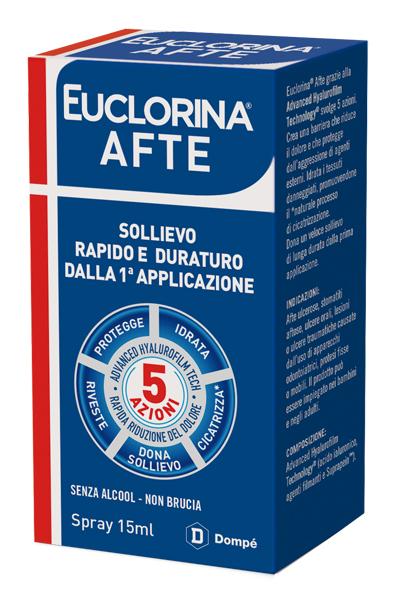 EUCLORINA AFTE SPRAY 15 ML - Parafarmacia la Fattoria della Salute S.n.c. di Delfini Dott.ssa Giulia e Marra Dott.ssa Michela