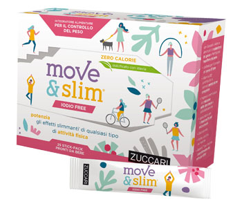 MOVE & SLIM INTEGRATORE CONTROLLO DEL PESO IODIO FREE SCIROPPO 25 STICK ZUCCARI - Farmastar.it