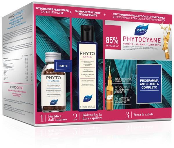 Phytocyane Cofanetto Anticaduta Phytophanere 90 capsule + Phytocyane Shampoo 250 ml + Phytocyane 12 fiale 7,5 ml - Farmastar.it
