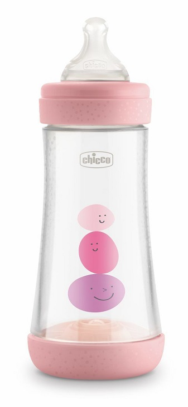 CHICCO BIBERON PERFECT 5 GIRL 300 ML IN SILICONE 3 FORI - Farmacia Massaro