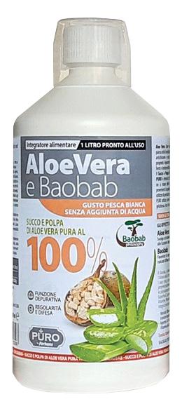 PURO ALOE VERA SUCCO E POLPA 100% + BAOBAB PESCA BIANCA 1 LITRO - farmaciafalquigolfoparadiso.it