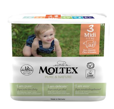 PANNOLINI MOLTEX PURE & NATURE MIDI 4-9 KG TAGLIA 3 33 PEZZI - Farmaseller