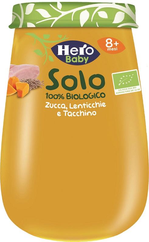 HERO SOLO OMOGENEIZZATO ZUCCHINE LENTICCHIE TACCHINO 100% BIO 190G - Farmacia33
