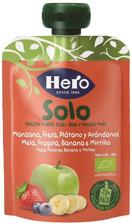 HERO SOLO FRUTTA FRULLATA 100% BIO MELA BANANA FRAGOLA 100 G - FARMAPRIME