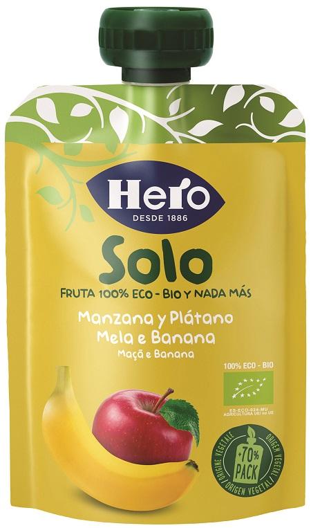 HERO SOLO FRUTTA FRULLATA 100% BIO MELA/BANANA 100 G - Farmajoy