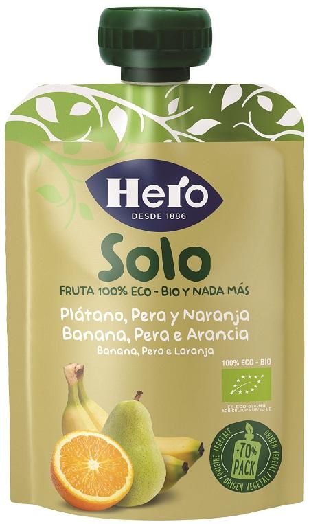 HERO SOLO FRUTTA FRULLATA 100% BIO BANANA PERA ARANCIA 100 G - Farmajoy
