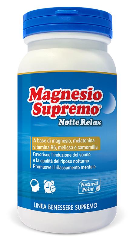 MAGNESIO SUPREMO NOTTE RELAX 150 G - Parafarmacia la Fattoria della Salute S.n.c. di Delfini Dott.ssa Giulia e Marra Dott.ssa Michela