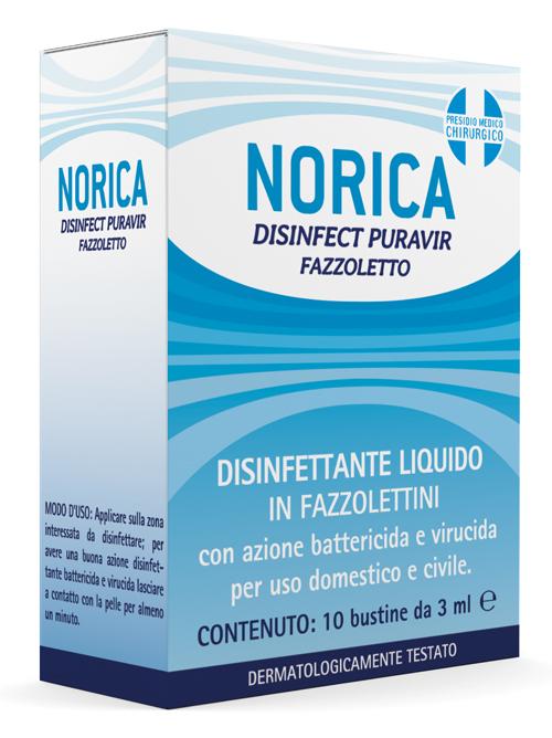 NORICA DISINFECT PURAVIR FAZZOLETTO 10 BUSTINE DA 3 ML - Farmaseller