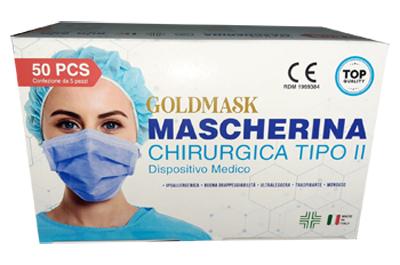 MASCHERINA CHIRURGICA GOLDMASK TIPO II 50 PEZZI - Farmacia Centrale Dr. Monteleone Adriano