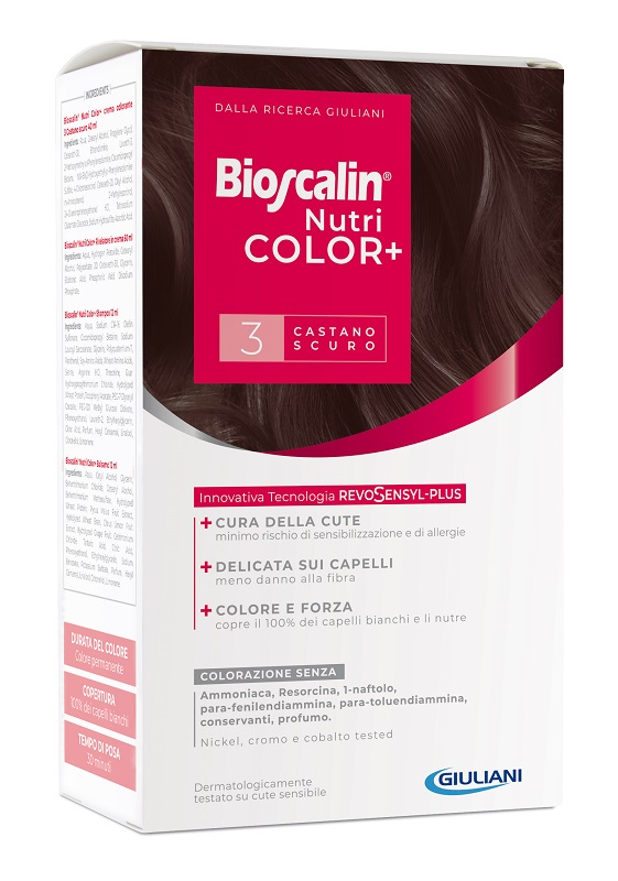 BIOSCALIN NUTRICOLOR PLUS 3 CASTANO SCURO CREMA COLORANTE 40 ML + RIVELATORE CREMA 60 ML + SHAMPOO 12 ML + TRATTAMENTO FINALE BALSAMO 12 ML - Speedyfarma.it