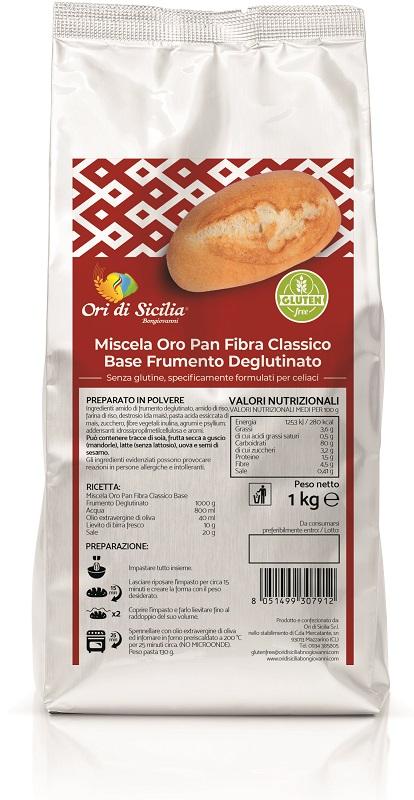 ORI DI SICILIA MIX ORO PAN FIBRA CLASSICO BASE FRUMENTO DEGLUTINATO 1 KG - Farmaseller