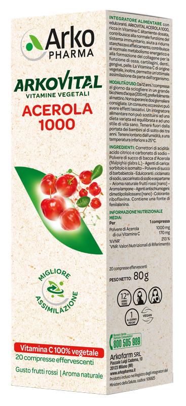 ARKOVITAL ACEROLA 1000 EFFERVESCENTE 20 COMPRESSE - pharmaluna
