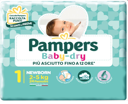 PAMPERS BABY DRY NEWBORN 24 PEZZI - farmaciafalquigolfoparadiso.it