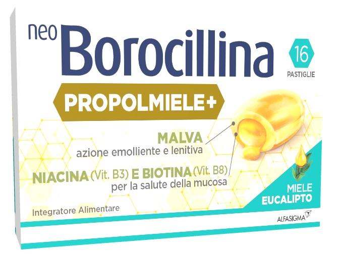 NEOBOROCILLINA PROPOLMIELE+ MIELE/EUCALIPTO 16 PASTIGLIE - Arcafarma.it