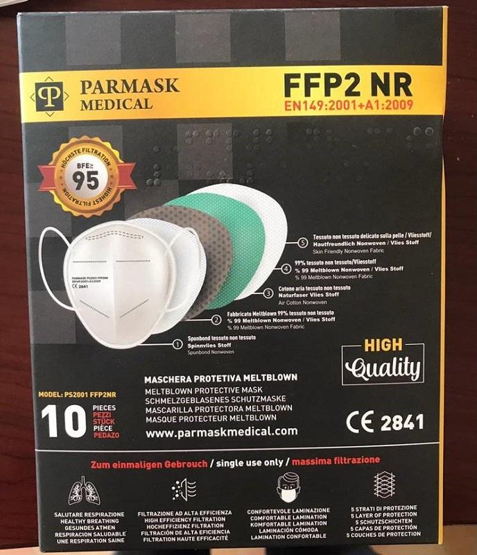 Parmask MASCHERINA FFP2 PS2001 NERO 10 PEZZI - Spacefarma.it