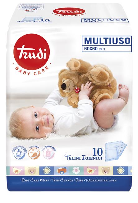 TRUDI BABY CARE TELINI MULTIUSO 60X60 CM 10 PEZZI - Farmaseller